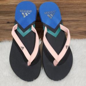 New Adidas Thong Style Black Blue Pink Flip Flops
